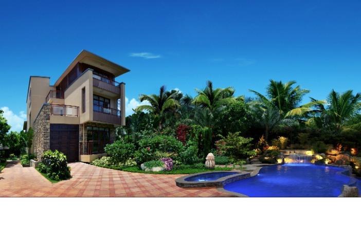 287-323平方米藏品独栋,海口首屈一指的超大庭院别墅,赠送一亩大院