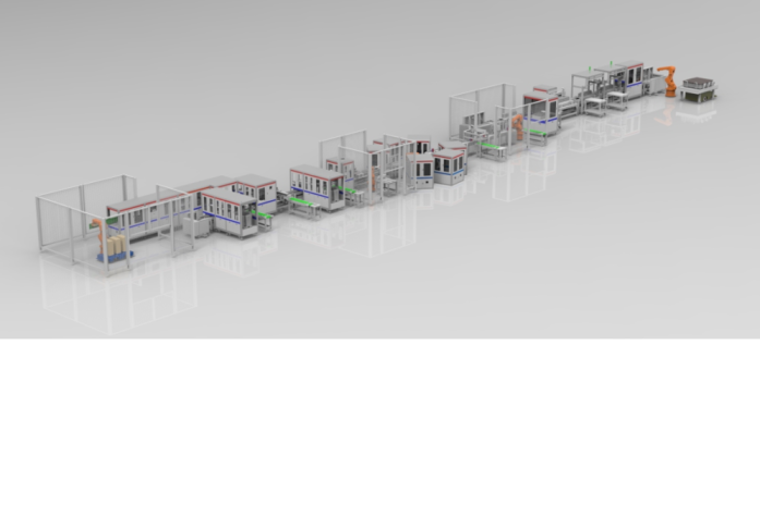 福建易动力18650圆柱型电池pack装配线是全国首条全自动模组装配线.